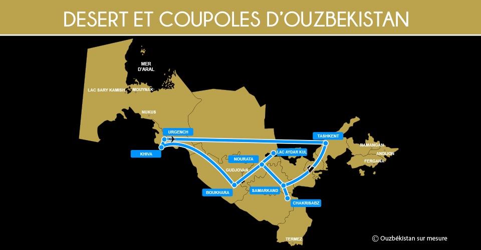 Carte Désert et Coupoles Ouzbékistan