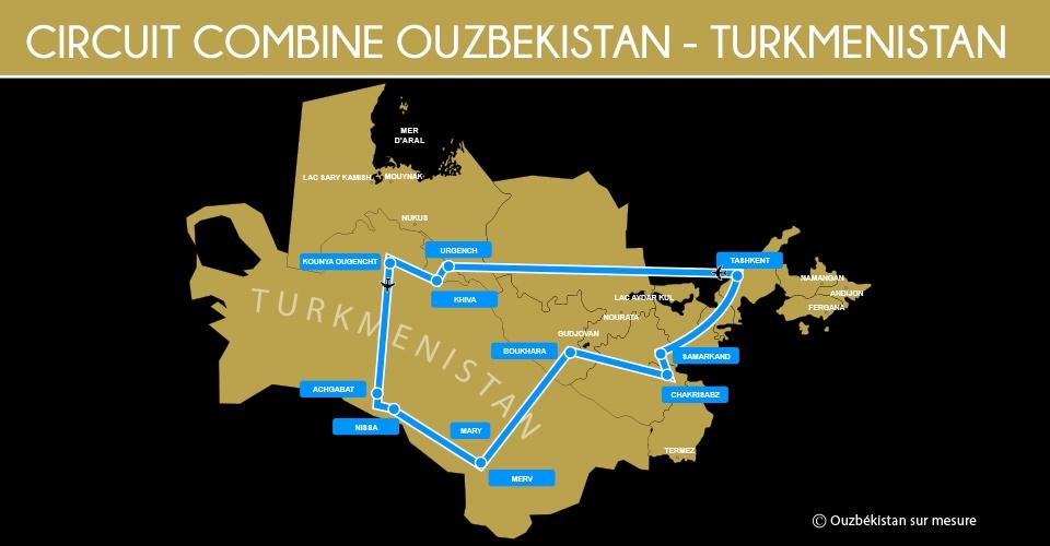 Carte circuit combiné Ouzbékistan - Turkménistan