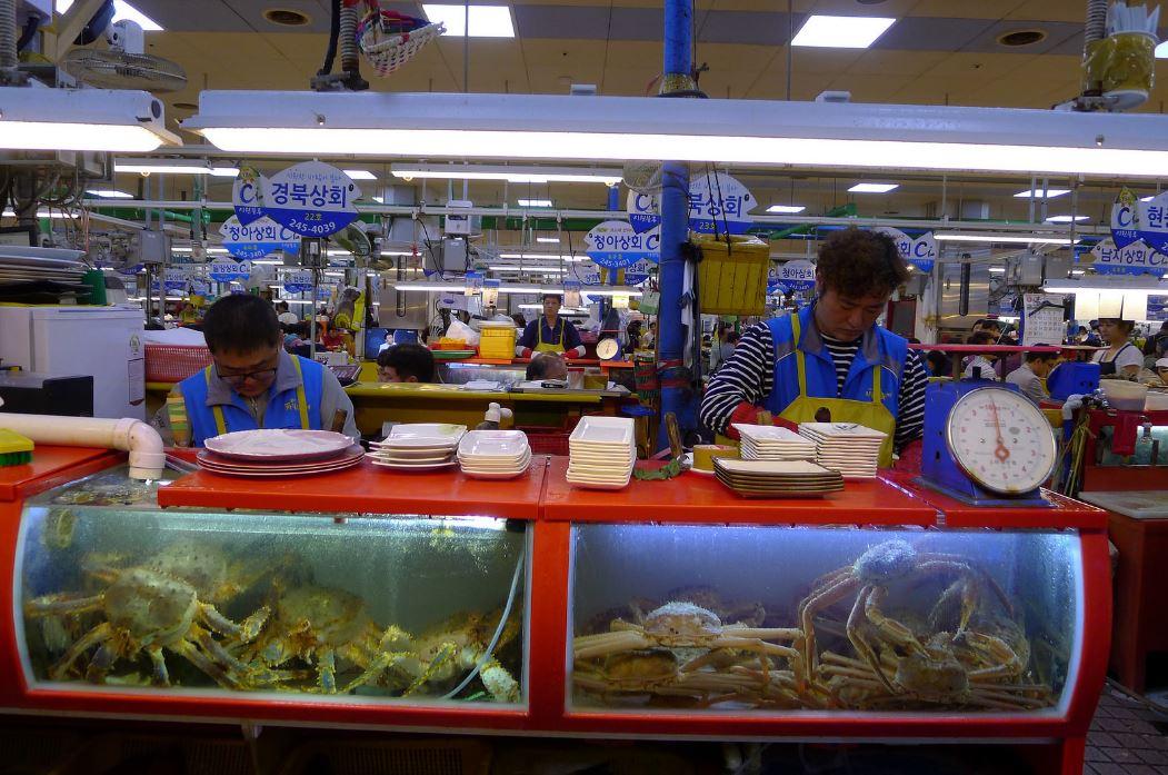Crabes au marché aux poissons Jagalchi