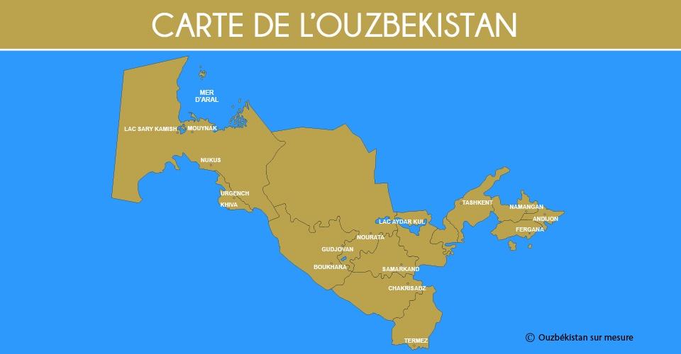 Carte Ouzbékistan - Ouzbékistan sur mesure